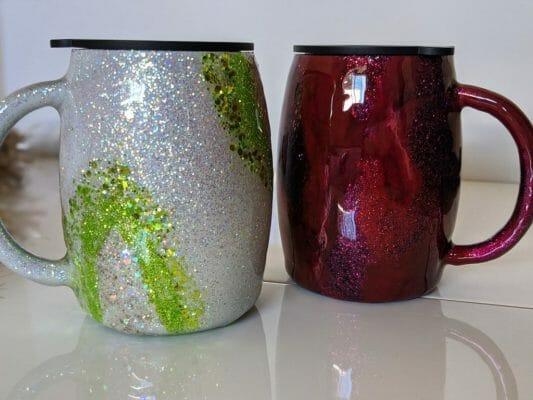 Two birthstone inspired 14 oz travel mugs