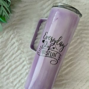 Everyday I'm Hustlin color changing tumbler - purple