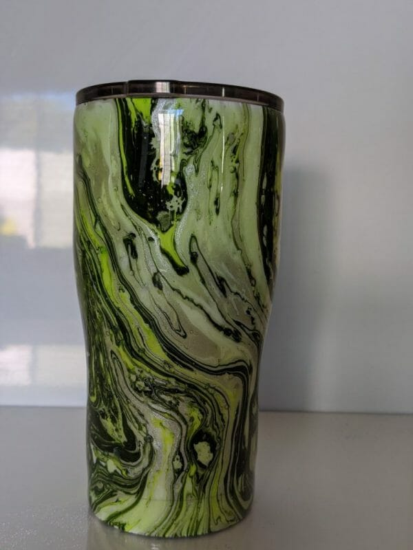 Green hydro dipped stainless steel tumbler