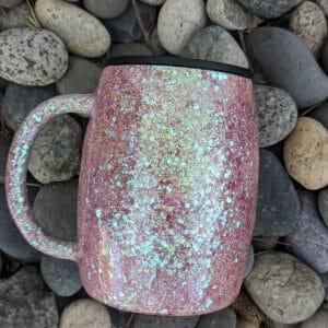 Dusty blush glitter stainless steel mug
