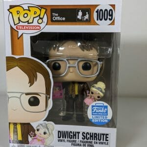 dwight schrute holding doll funko pop!